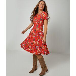 Joe Browns Vestido comprido evasé, estampado às flores e com decote em V   estampado fundo vermelho