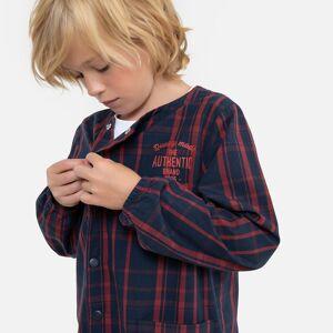 Bibe de mangas compridas aos quadrados, 3-12 anos   Quadrados Marinho/Vermelho
