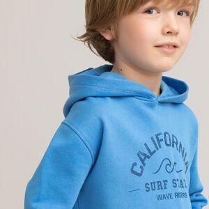 Sweat com capuz e motivo à frente, 3-12 anos   azul-vivo