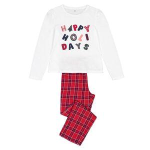 Pijama de Natal, 3-14 anos   quadrados vermelhos