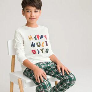 Pijama de Natal, 3-14 anos   Quadrados Verdes