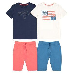 La Redoute Collections Lote de 2 pijamas em algodão, 3-12 anosAzul marinho + cru- 4 anos (102 cm)