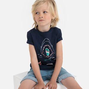 La Redoute Collections T-shirt de gola redonda, com emblemas, 3-12 anosMarinho- 12 anos (150 cm)
