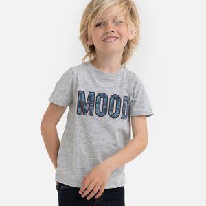 "La Redoute Collections T-shirt de gola redonda, motivo ""Mood"" à frente, 3-12 anosCinza Mesclado- 12 anos (150 cm)"