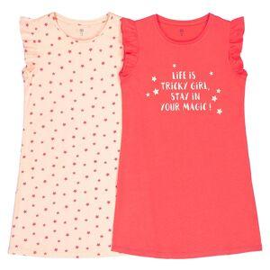 La Redoute Collections Lote de 2 camisas de dormir em algodão, 3-12 anosVermelho + pêssego- 6 anos (114 cm)