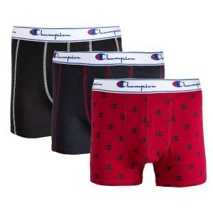 Champion Lote de 3 boxers   cinza + vermelho + preto