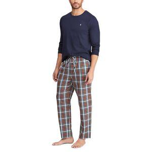 Polo Ralph Lauren Pijama, caixa de presente   quadrados + azul liso