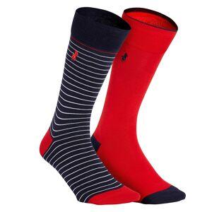 Polo Ralph Lauren Lote de 2 pares de meias às riscas   riscas azuis + vermelho