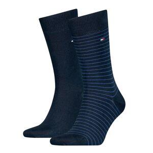 Tommy Hilfiger Lote de 2 pares de meias altas   Azul + Riscas Azuis
