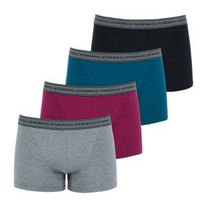 Athena Lote de 4 boxers Basic Coton   Cinzento+bordeaux+azul+preto