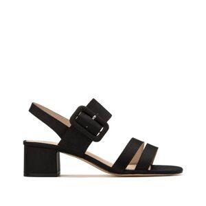 Sandálias com tiras, detalhe com fivela   Preto
