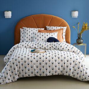 Capa de edredon, em cetim de algodão, Pawica   Branco/Estampado Azul