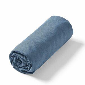 Am.pm Lençol-capa em linho lavado Elina, para colchão alto   Azulão