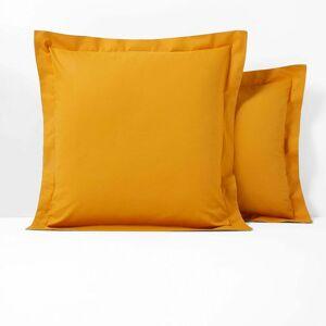 Fronha de almofada lisa em algodão, folho sem franzido, Scenario   Amarelo-Mostarda