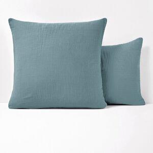 Fronha de almofada lisa em gaze de algodão, Snow   azul-acinzentado