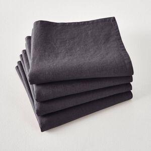 Lote de 4 guardanapos de mesa, em linho lavado, Victorine   Carvão