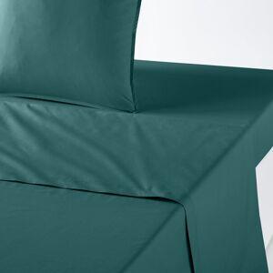 Lençol liso em percal de algodão biológico   esmeralda