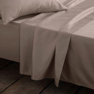 Lençol liso em cetim de algodão liso   castanho-toupeira