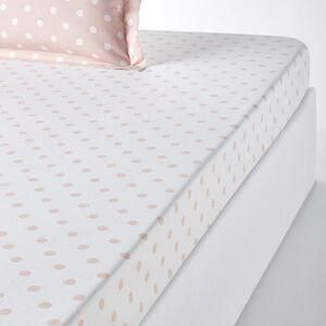 Lençol-capa em puro algodão estampado às bolas, Clarisse   Nude/Branco