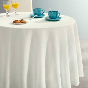 Toalha de mesa redonda, em poliéster enrugado CERYAS   Branco