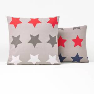 Fronha de almofada em algodão, Stars   Cinzento Estampado