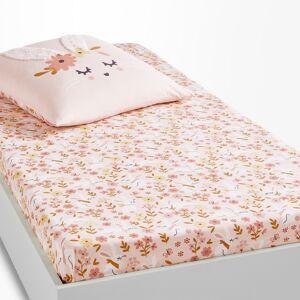Lençol-capa para criança, em algodão biológico, Lapin fleuri   Estampado Rosa