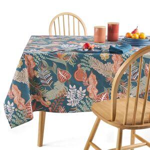 Toalha de mesa estampada Tropic, em polialgodão, antinódoas   estampado fundo azul