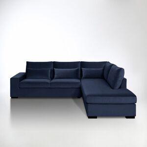 Sofá de canto convertível Odessa, veludo   Azul-Noite