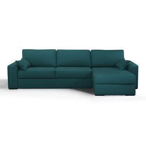 Sofá-cama de canto, em algodão/linho, látex, Cécilia   Azul-pavão