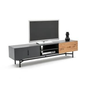 Móvel para TV, comprimento 2 metros, LORA   Carvalho/cinzento