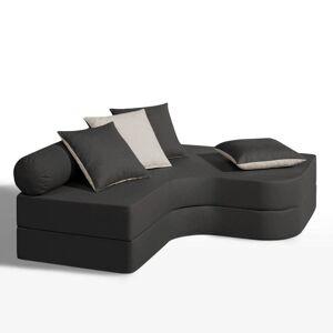 Sofá-cama de canto, conforto espuma, tamanho crian   antracite/cru