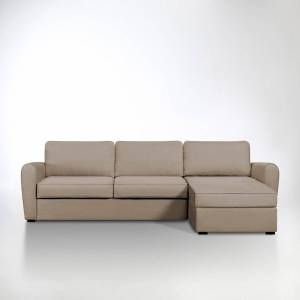 Sofá-cama de canto, em algodão, bultex, Nalpha   castanho-toupeira