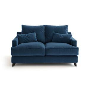 Am.pm Sofá compacto, em veludo, Alwine   Azul-pavão
