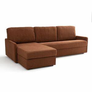 Sofá-cama de canto, em tecido texturizado, látex Marta   Castanho-esquilo