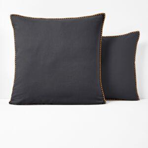 Fronha de almofada em algodão, bordada, Merida   Carbono/ocre