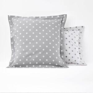 Fronha de almofada em puro algodão, estampado às bolas, Clarisse   cinzento/branco