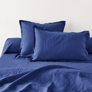 Fronha de almofada ou de travesseiro liso em linho lavado   Ultra-azul