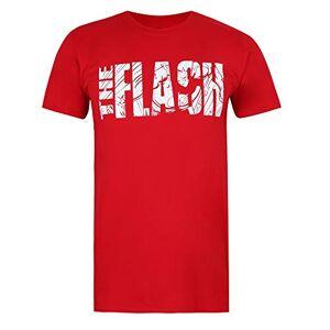 DC Comics Flash Text Camiseta, Rojo Cereza, Small para Hombre
