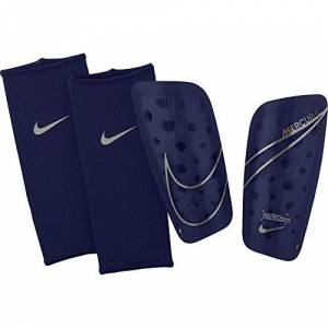 Nike Mercurial Lite Espinilleras Fútbol Unisex Adulto, Multicolor (Blue Void/Metallic Silver), XS