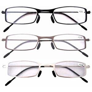 Eyekepper Gafas de Lectura con Montura de Acero Inoxidable de 3 Paquetes para Hombre y Mujer