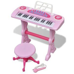 Casa Practica Orgă pentru copii cu scaun/microfon, 37 Clape, Roz