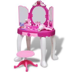 Casa Practica Masă de toaletă de jucărie cu 3 oglinzi, camera de joacă, lumină/sunet