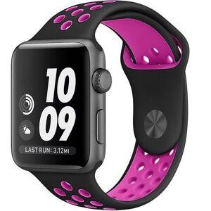 Apple Curea pentru Apple Watch 42 mm Silicon Sport iUni Negru-Roz