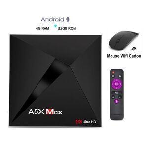 Quad Mini PC TV Box, Media player 4K, A5X Max Android 9.0, 4gb/32gb 4k, Bluetooth, Netflix