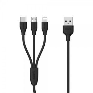 Remax Cablu De Date 3 In 1 Remax Suda Rc-109th Negru Micro Usb, Lightning, Type C