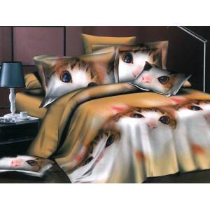 Mengtu Lenjerie 3D pentru pat dublu cu 4 piese din bumbac satinat cod 3DC6
