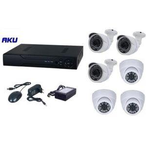AKU Kit Supraveghere Video AKU Ak9610F, 6 camere interior/exterior, 1MP + DVR 8 canale, AHD