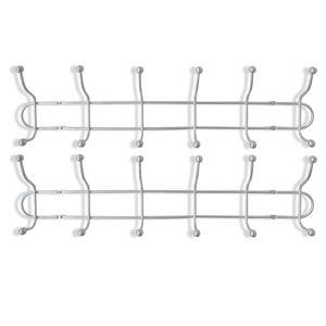 vidaXL Cuier de perete din oțel cu 12 cârlige, 2 buc.