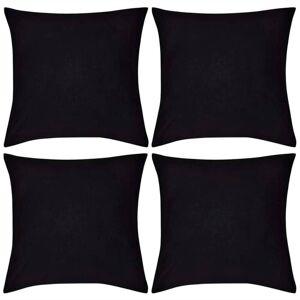 vidaXL Huse de pernă din bumbac, 80 x 80 cm, negru, 4 buc.