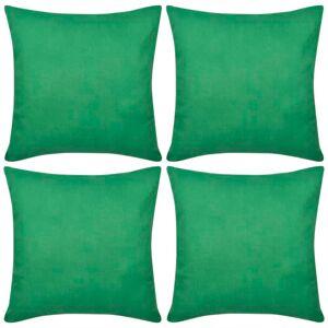 vidaXL Huse de pernă din bumbac, 80 x 80 cm, verde, 4 buc.